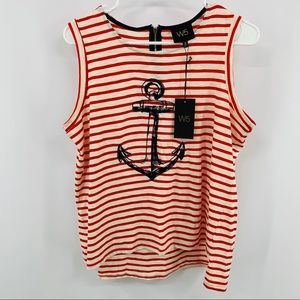 W5 Red & White Striped Tank With Blue Anchor NWT
